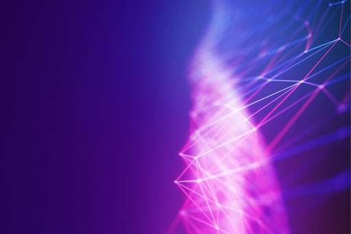Illuminated pink and purple lines on a purple background