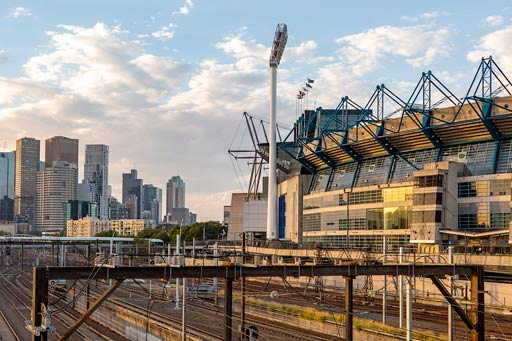 Melbourne skyline showing the MCG and railway lines