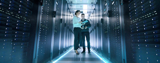 People in a server room