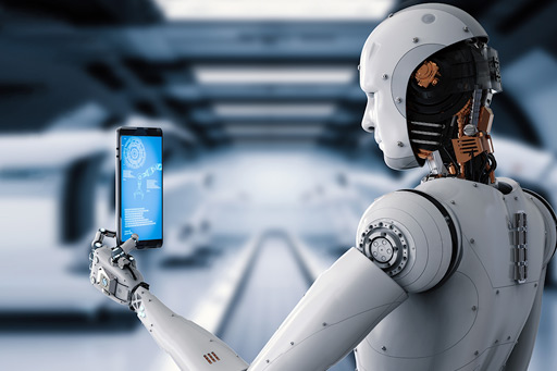 Robot holding a mobile device
