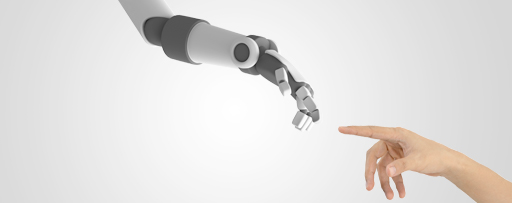 Robotic finger touching human finger