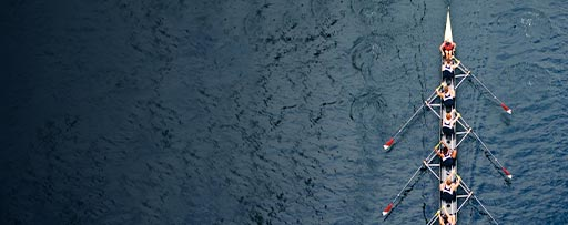 Aerial view of rowers in a boat race