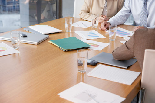 Paperwork on the boardroom table