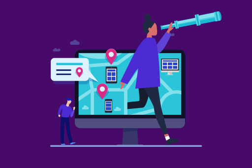 Woman stepping out of compute using telescope illustration
