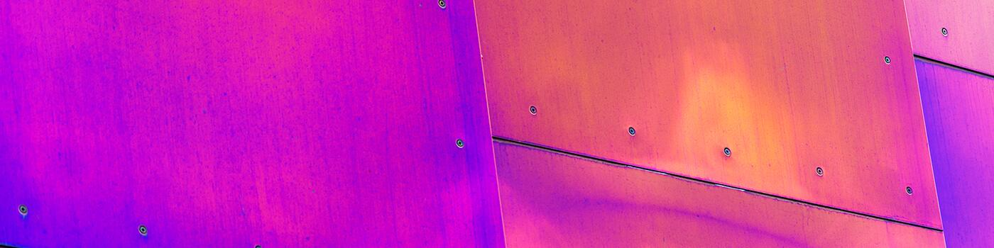 Vibrant pink and purple stainless steel panels