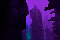 Futuristic-looking financial district underneath a purple sky