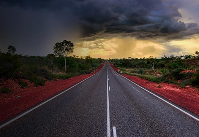 Gathering storm in outback Australia