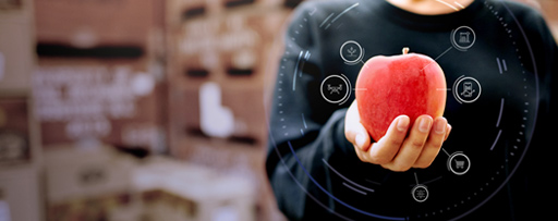 Person holding an apple with a digital interface