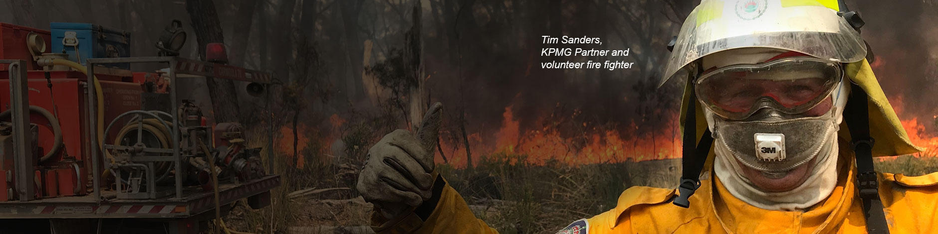 KPMG Partner, Tim Sanders, who is a volunteer fire fighter (RFS).