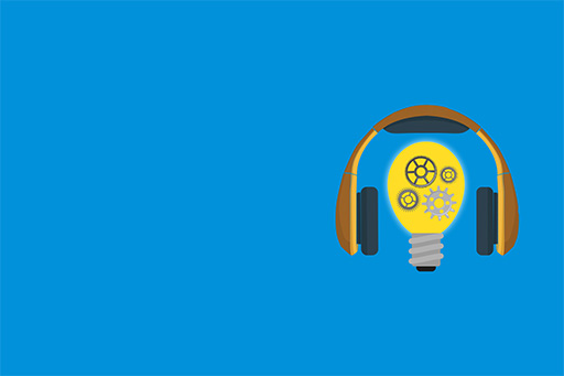 IFRS podcast headphones with bulb