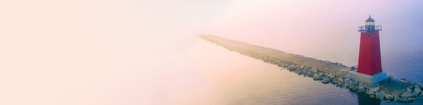 Red Lighthouse in pink fog