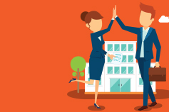 Healthcare two business people high five