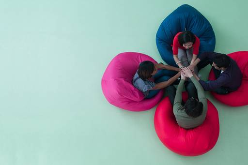 Meeting on bean bag chairs