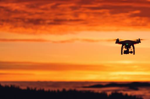 drone hovering at sunset