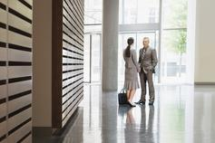 Business people in foyer