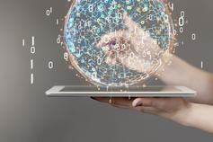 Data sphere emerging from tablet