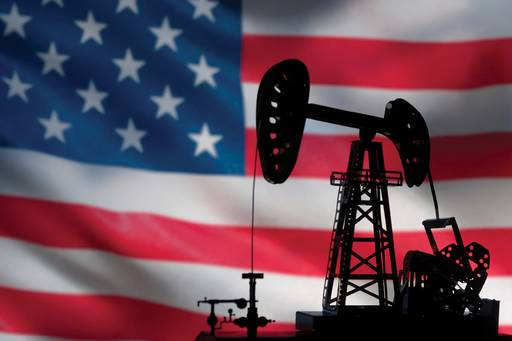 oil rig and american flag