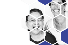 3 women laughing blue hexagons