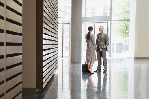 Business people in hallway