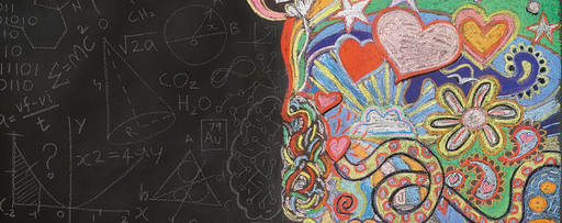 colorful artwork on a blackboard
