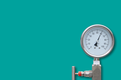 Pressure gauge with a green background