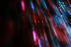 Red and blue cyber color rain dark background