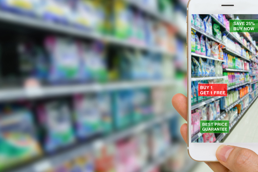 mobile phone focusing on goods shelf in a supermarket