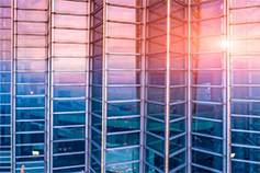 blue pink colored glass building
