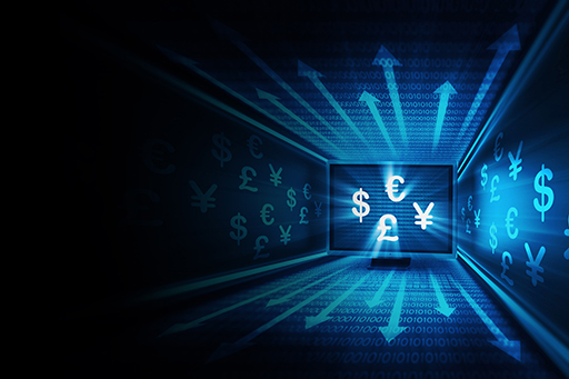 currency on coding background
