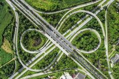 Aerial view of a highway intersection