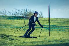 Woman skiing on an artificial hill