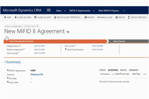 MiFID II Investor Protection compliance solution built on Microsoft Dynamics CRM