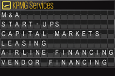 KPMG aviation finance and leasing services on airport arrivals board