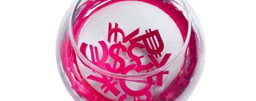 Banking - currency symbols in glass bowl