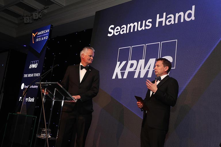 Mark Redmond, Chief Executive of the American Chamber of Commerce Ireland and KPMG Managing Partner, Seamus Hand