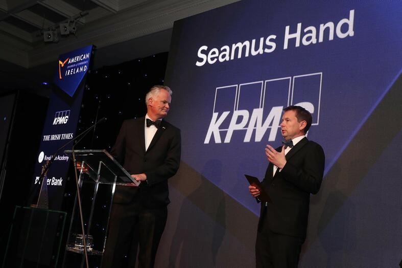 Mark Redmond, Chief Executive of the American Chamber of Commerce Ireland and KPMG Managing Partner, Seamus Hand at the 2019 US-Ireland Research Innovation Awards