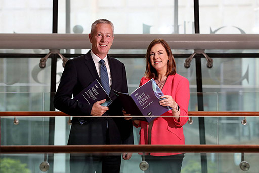 Pictured from left are John Hansen, Partner in Charge of KPMG in Northern Ireland and Angela McGowan, Chief Executive of CBI Northern Ireland, who wrote a foreword in the KPMG Global CEO Outlook.
