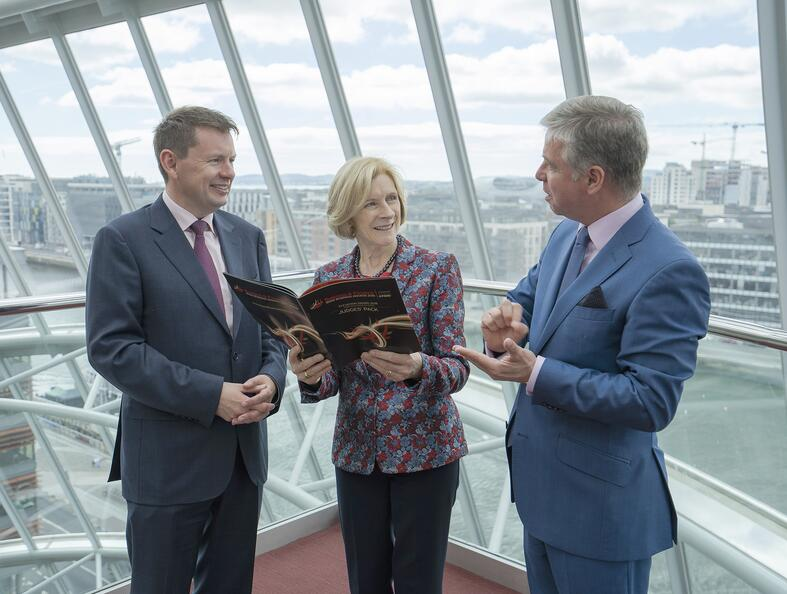 Pictured at the launch of the 2019 Business & Finance Awards are Seamus Hand, Managing Partner, KPMG in Ireland; Frances Ruane, chair of the judging panel; and Ian Hyland, Business & Finance Media.
