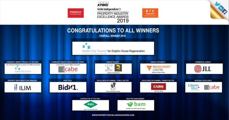 KPMG Irish Independent Property Industry Excellence Awards winners 2019