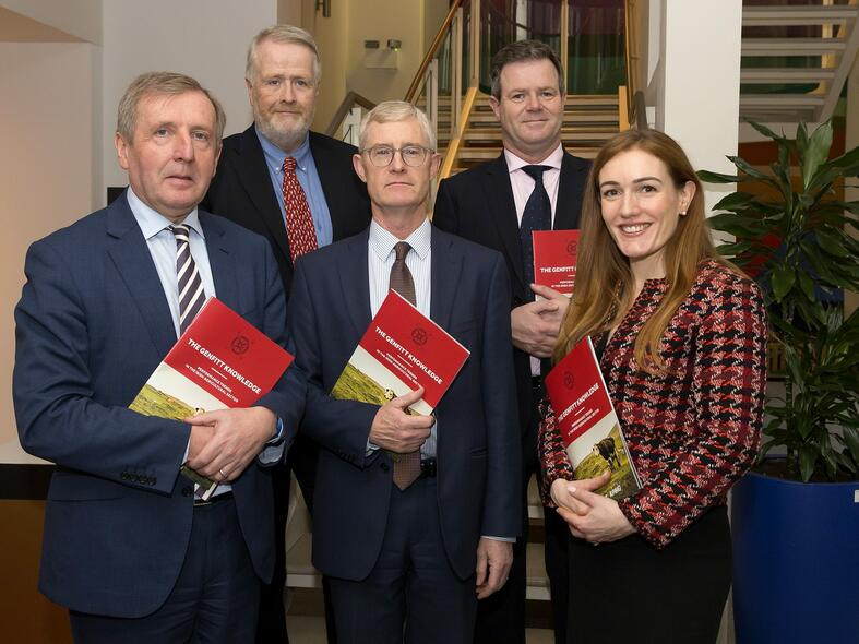 (From Left to Right) Michael Creed, Minister for Agriculture, Food and the Marine; Paul Duggan, Chairman Genfitt; David Meagher, Head of Agribusiness, KPMG; Ronan Egan, Managing Director Genfitt and Nancy Leonard, Partner, KPMG, at the launch of the Genfitt Knowledge report, at the launch of the Genfitt Knowledge report at the Department for Agriculture, Food and the Marine.