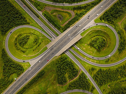 LIMERICK, IRELAND - An aerial view of the M7 motorway and N18 national road junction on the outskirts of Limerick City