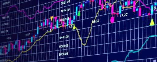 Blue background with stock chart