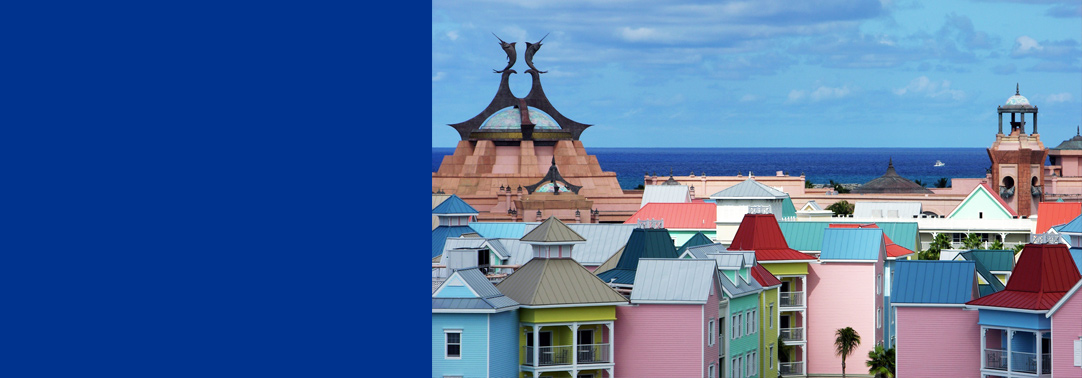 The view of colorful resort building roofs on Para