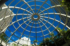 low angle view of atrium in Boston Massachusetts