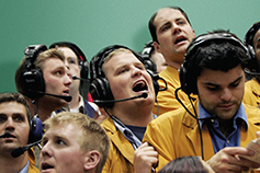 Traders on the stock exchange floor