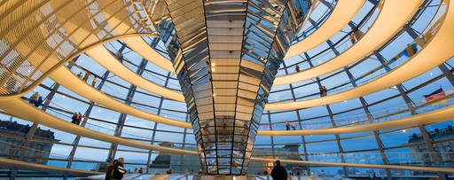 Modern architecture glass building interior
