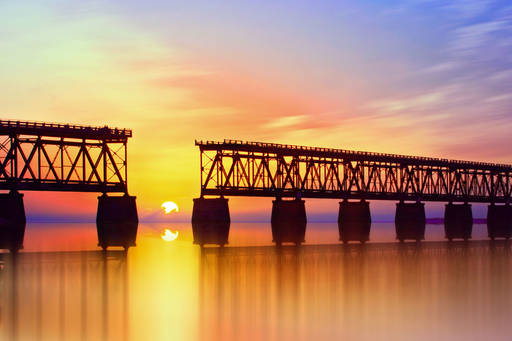 Beautiful Colorful Sunset Or Sunrise With Broken Bridge