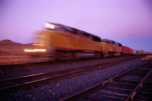 Freight train at dusk