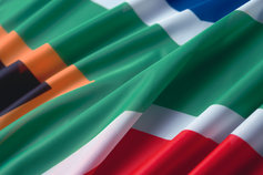 Close up of a South African flag