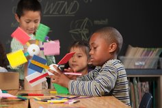 The KPMG Foundationv - photo of children making paper wind turbines